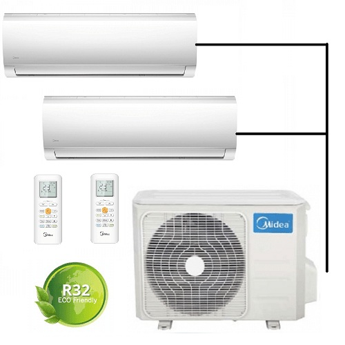 Aer conditionat multi split Midea Blanc R32 Inverter 9000 BTU + 12000 BTU